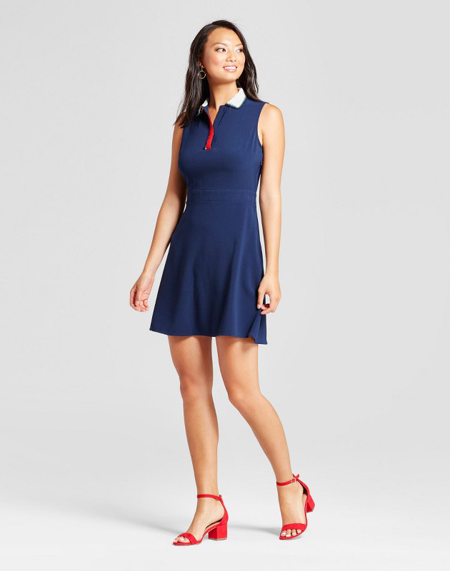 photo Tank Dress with Handmade Crochet Collar by Isani for Target, color Navy - Image 1
