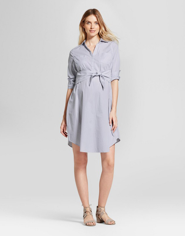 photo Maternity Striped Tie Front Shirt Dress by Isabel Maternity by Ingrid & Isabel, color Eggshell Blue - Image 1