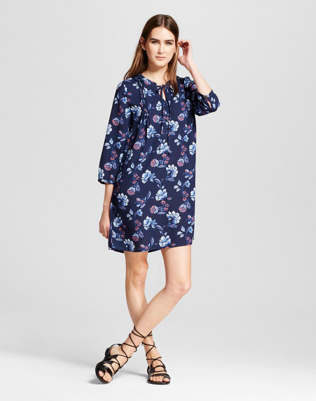 photo Printed Long Sleeve Shift Dress by Layered with Love, color Navy - Image 1