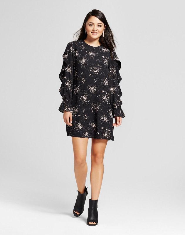 photo Flounce Long Sleeve Shift Dress by Mossimo, color Black Print - Image 1