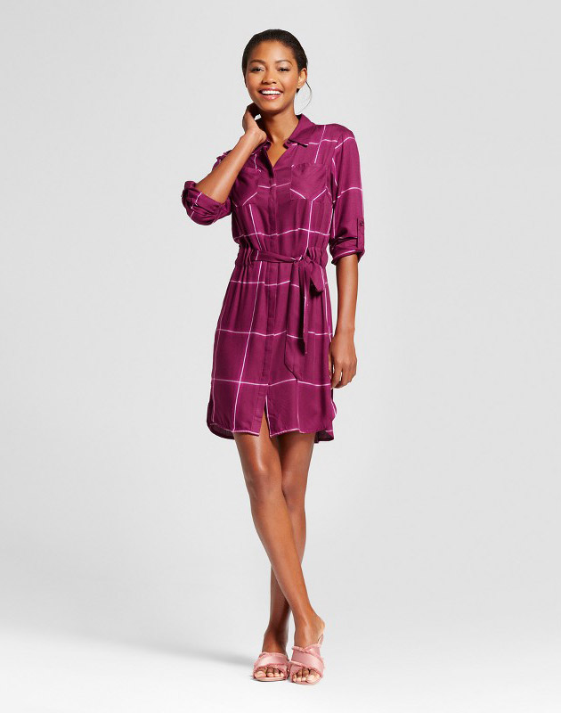 photo Plaid Shirt Dress by A New Day, color Cherry - Image 1