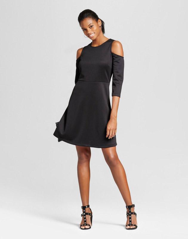 photo Elbow Sleeve Cold Shoulder Fit n Flare Dress by Alison Andrews, color Black - Image 1