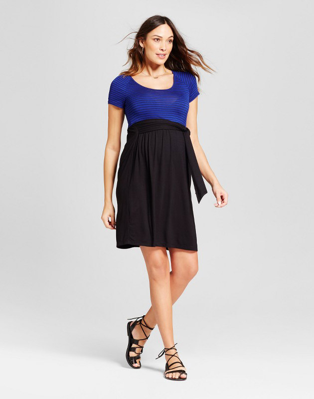 photo Maternity Short Sleeve Striped Dress by MaCherie, color Blue - Image 1