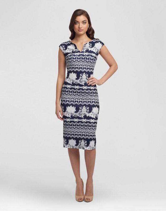 photo V-Neck Printed Sheath Dress by Sami & Dani, color Navy/Ivory - Image 1