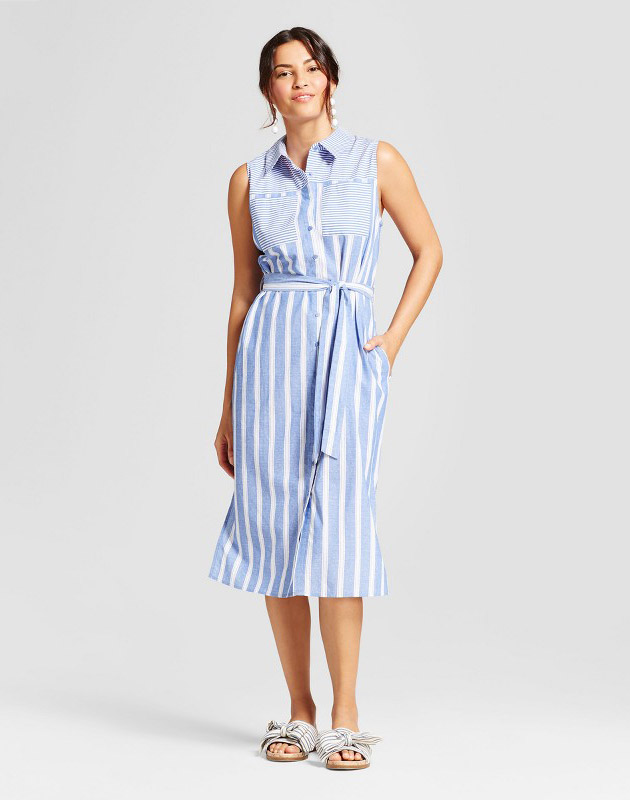 photo Striped Button Down Shirt Dress by Notations, color Blue/White - Image 1