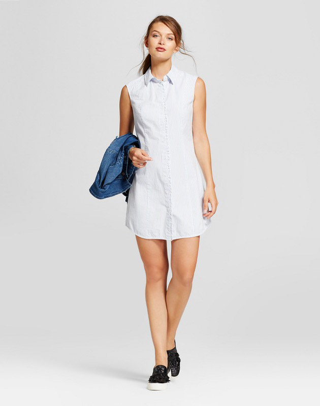 photo Ruffle Sleeveless Shirt Dress by A New Day, color Cream - Image 1