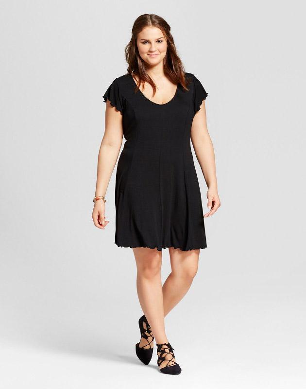 photo Plus Size Lettuce Edge T-Shirt Dress by Xhilaration, color Black - Image 1
