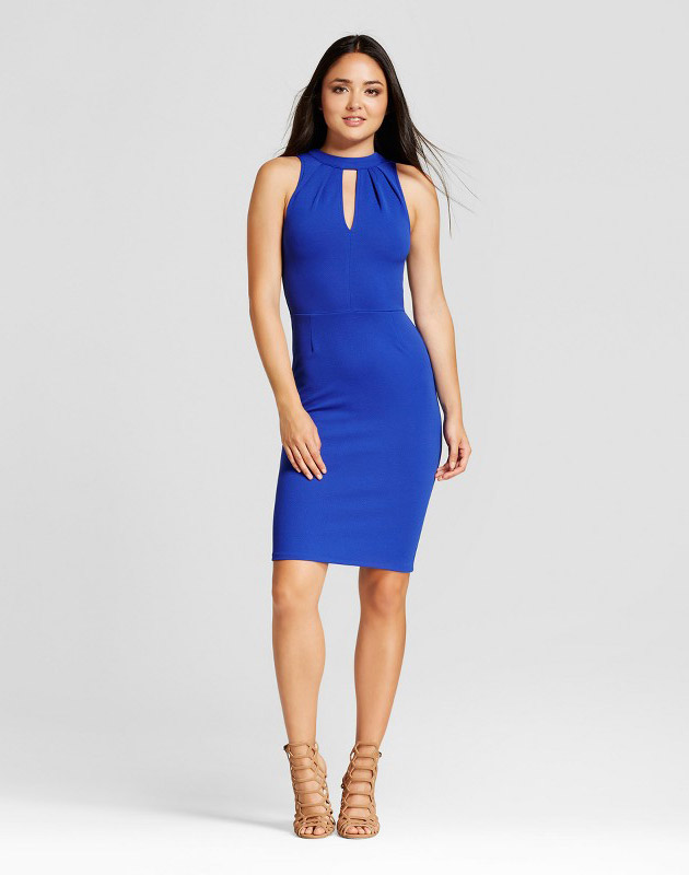 photo Solid Textured Knit Dress by Necessary Objects, color Cobalt - Image 1