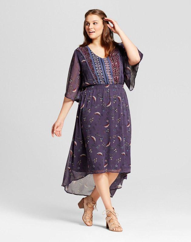 photo Plus Size Easy Waist Woven Print Dress by Xhilaration, color Blue - Image 1