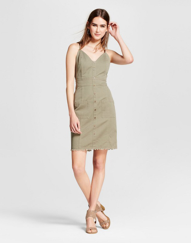 photo V-Neck Utility Button Front Dress - J by J.O.A., color Army Green - Image 1