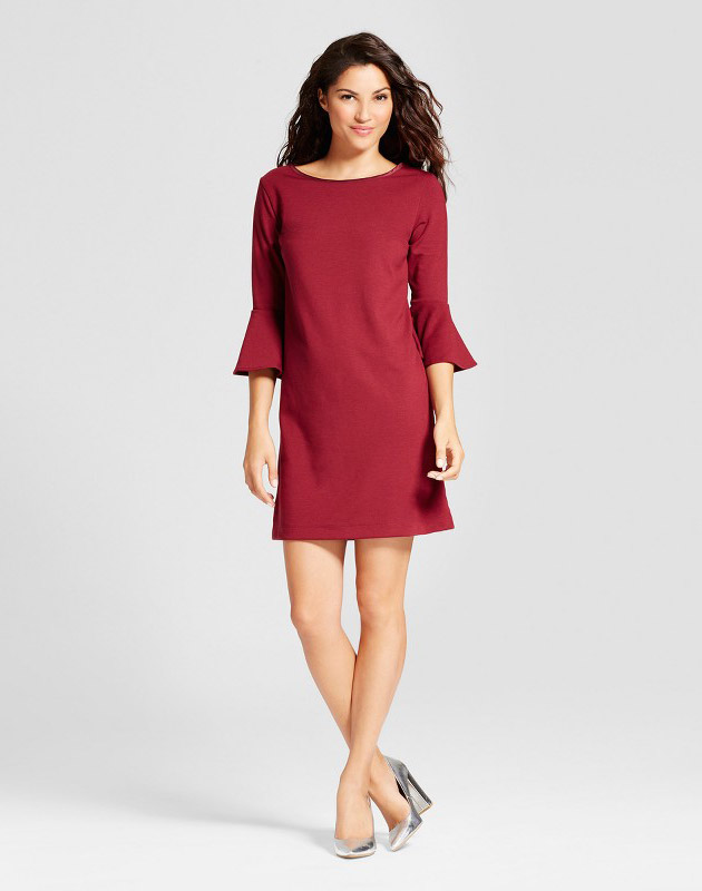 photo Ponte Ruffle Sleeve Dress by A New Day, color Burgundy - Image 1