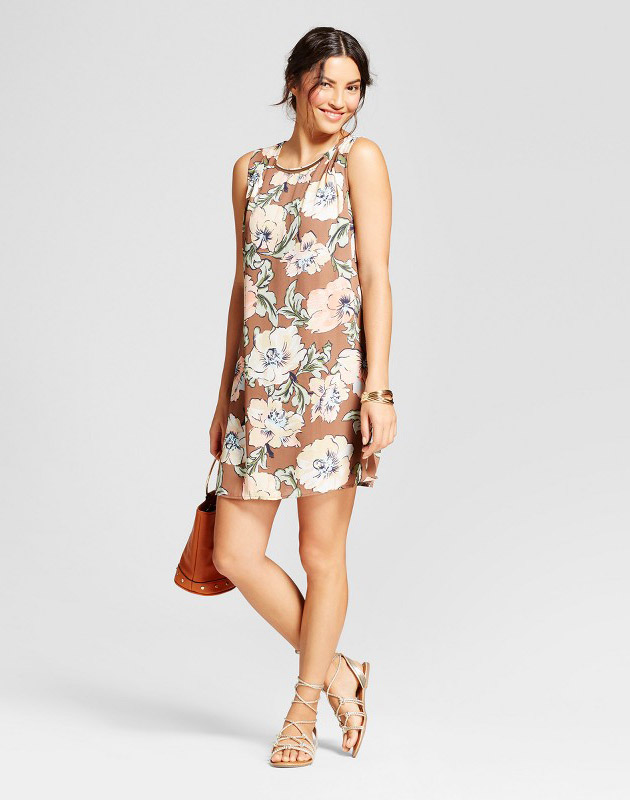 photo Floral Printed Tank Dress with Necklace Bar by Lux II, color Mocha Combo - Image 1