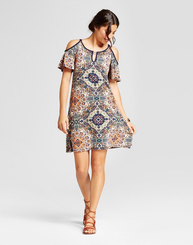 photo Printed Cold Shoulder Shift Dress with Flutter Sleeve by Lux II, color Olive/Coral/Green - Image 1