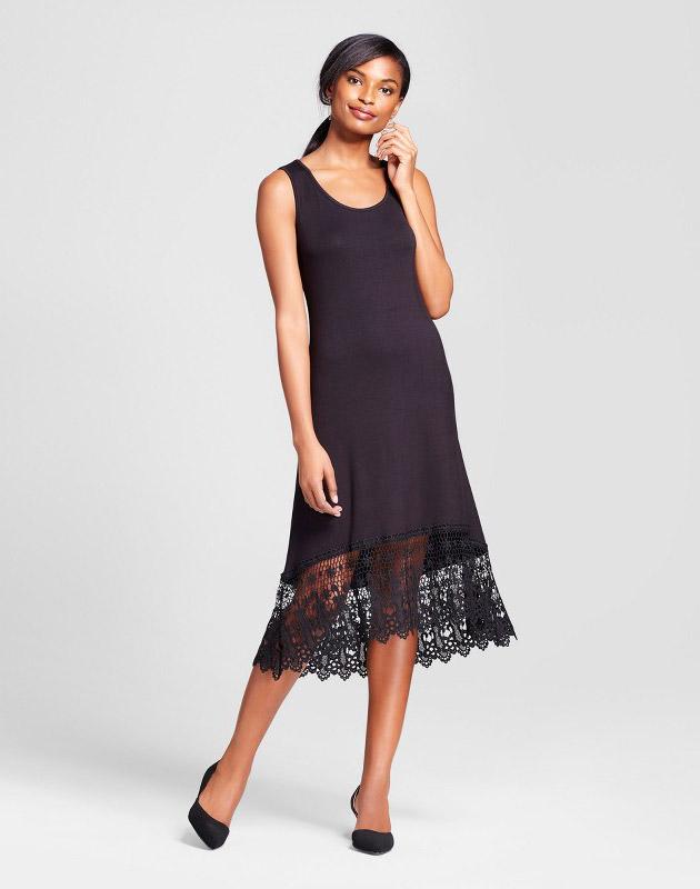 photo Sleeveless Maxi Dress with Crochet Trim by Loramendi, color Black - Image 1