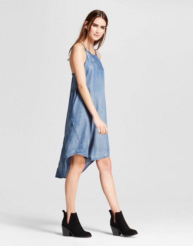photo Tencel Hi Lo Halter Dress by S&P by Standards and Practices, color Blue - Image 1