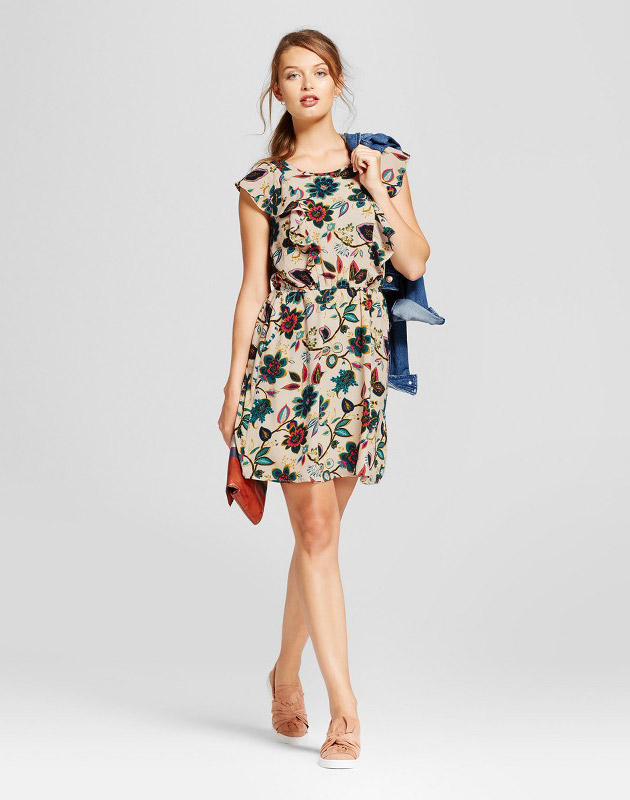 photo Floral Flutter Sleeve Crepe Dress by A New Day, color Cream Beige - Image 1