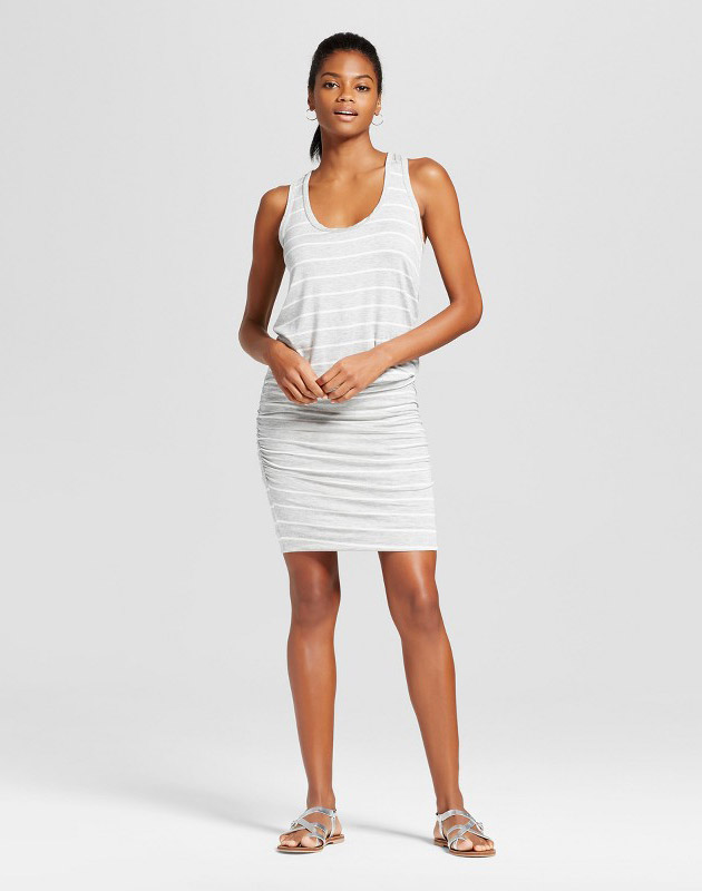 photo Knit Racerback Dress with Ruched Skirt by Vanity Room, color Heather Gray - Image 1