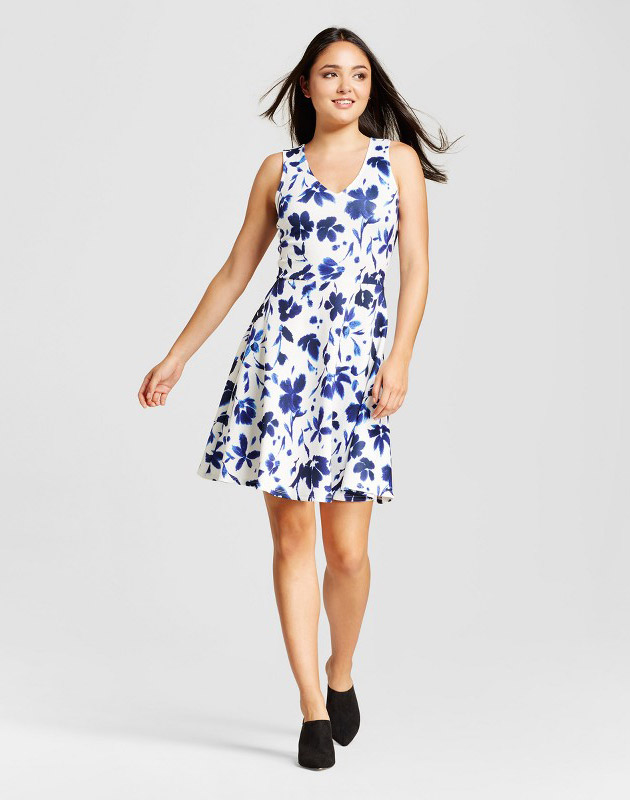 photo Printed Scuba Fit n' Flate Dress by Alison Andrews, color Blue/White - Image 1