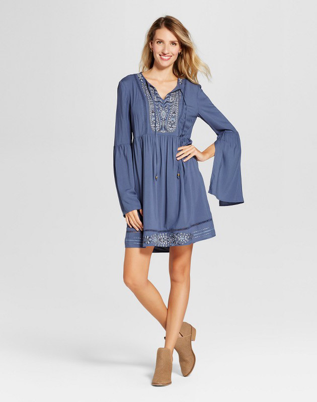 photo Metallic Embroidered Bell Sleeve Dress by Knox Rose, color Dusty Blue - Image 1