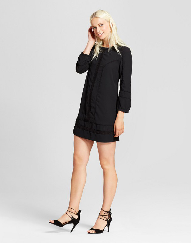 photo Long Sleeve Crochet Detail Shift Dress by Layered with Love, color Black - Image 1