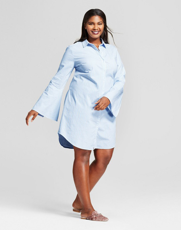 photo Plus Size Striped Shirt Dress by A New Day, color Light Blue - Image 1