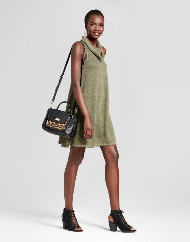 photo Cowl Neck Knit Tank Dress by Spenser Jeremy, color Green - Image 1