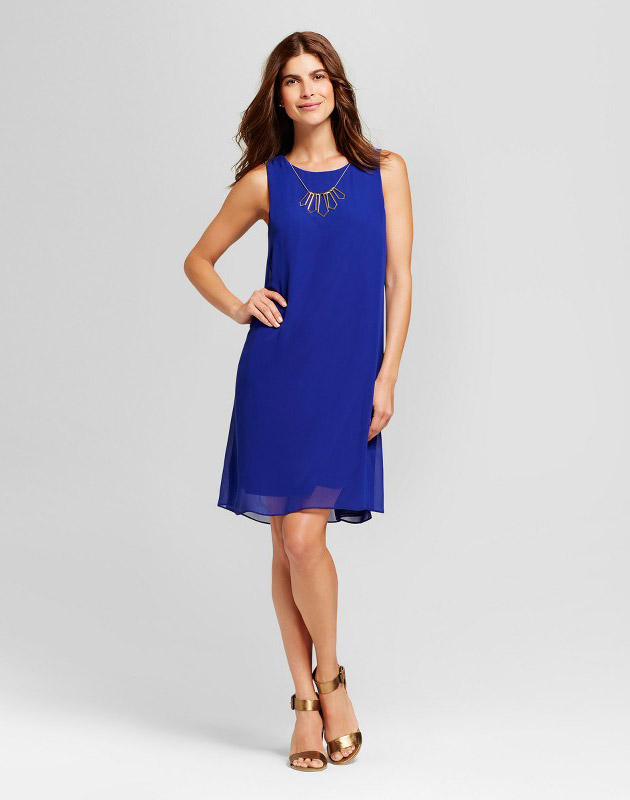 photo Woven Shift Dress with Necklace by Chiasso, color Blue - Image 1