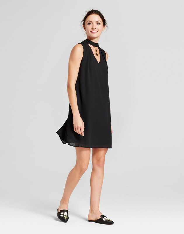 photo Choker Neck Trapeze Dress with Necklace Detail by Lux II, color Black - Image 1