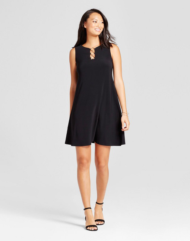 photo Three Ring Neck Solid Trapeze Dress by Chiasso, color Black - Image 1