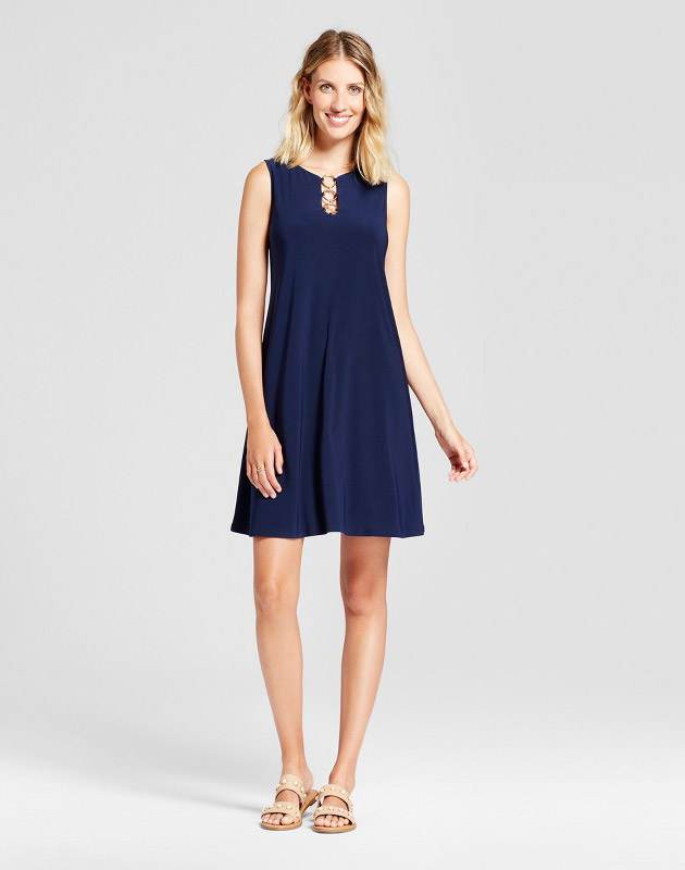 photo Three Ring Neck Solid Trapeze Dress by Chiasso, color Navy - Image 1