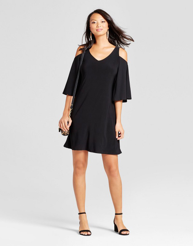 photo 3/4 Sleeve Cold Shoulder Shift Dress by Chiasso, color Black - Image 1