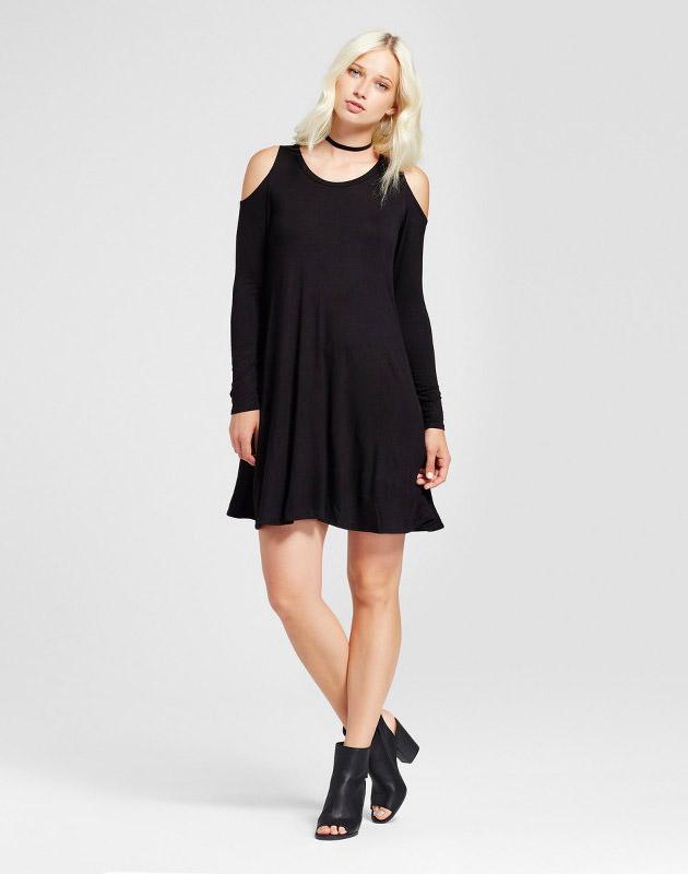 photo Cold Shoulder Long Sleeve Shift Dress by Vanity Room, color Black - Image 1