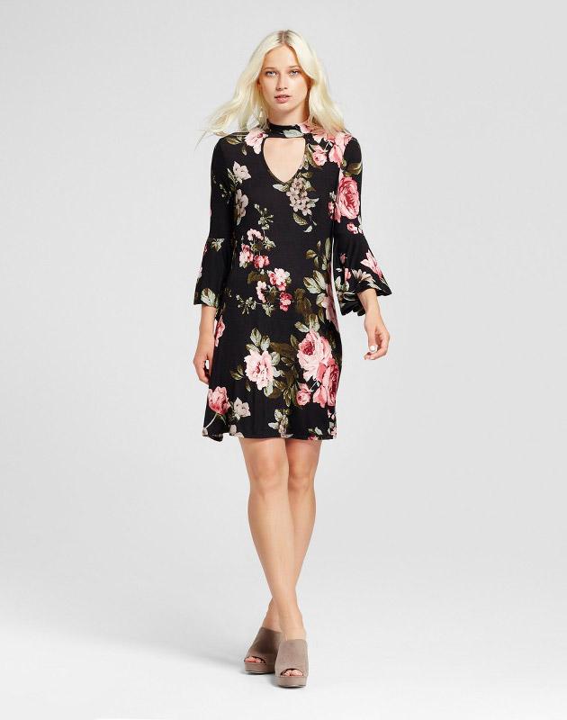 photo 3/4 Sleeve Floral Bell Sleeve Mock Neck Swing Dress by Alison Andrews, color Black - Image 1