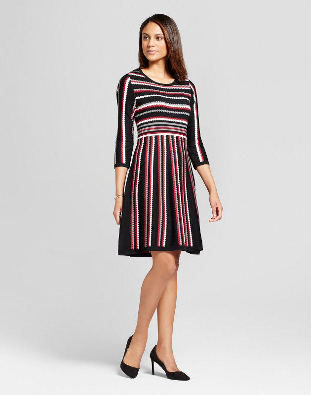 photo Striped Long Sleeve Fit and Flare Sweater Dress by Studio One, color Red White Black - Image 1