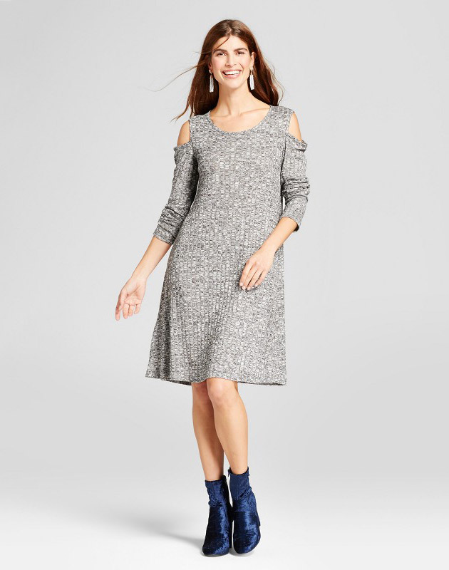photo Ribbed Cold Shoulder Knit Dress by Como, color Black/White - Image 1