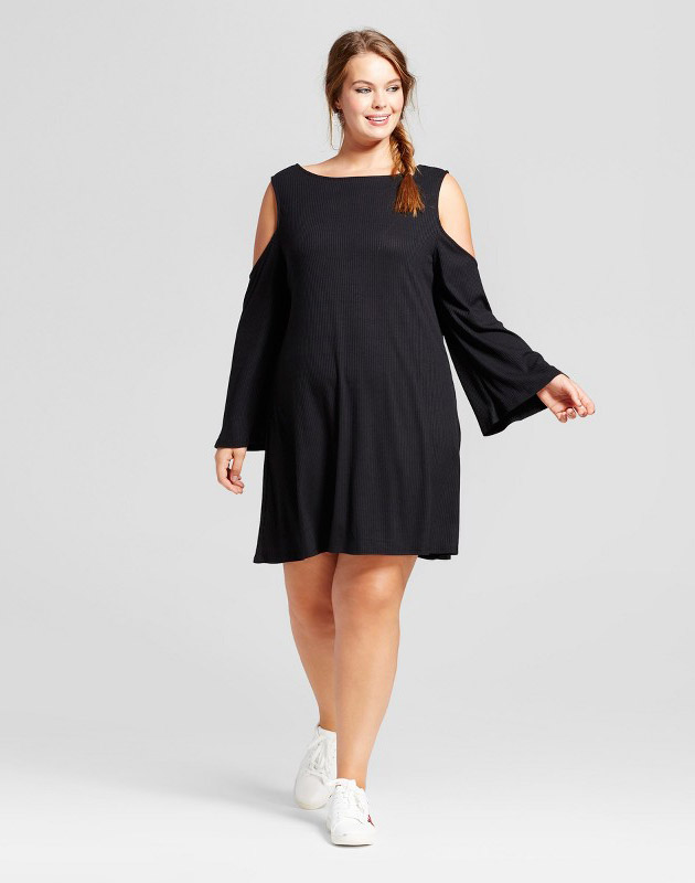 photo Plus Size Rib Knit Cold Shoulder Long Sleeve Dress by Xhilaration, color Black - Image 1