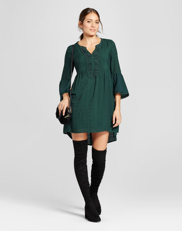 photo Crochet Bell Sleeve Dress by Knox Rose, color Forest Green - Image 1