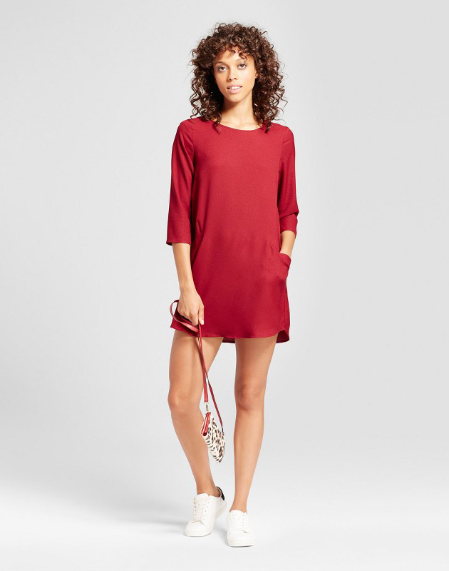 photo Front Pocket Shift Dress by Eclair, color Red - Image 1