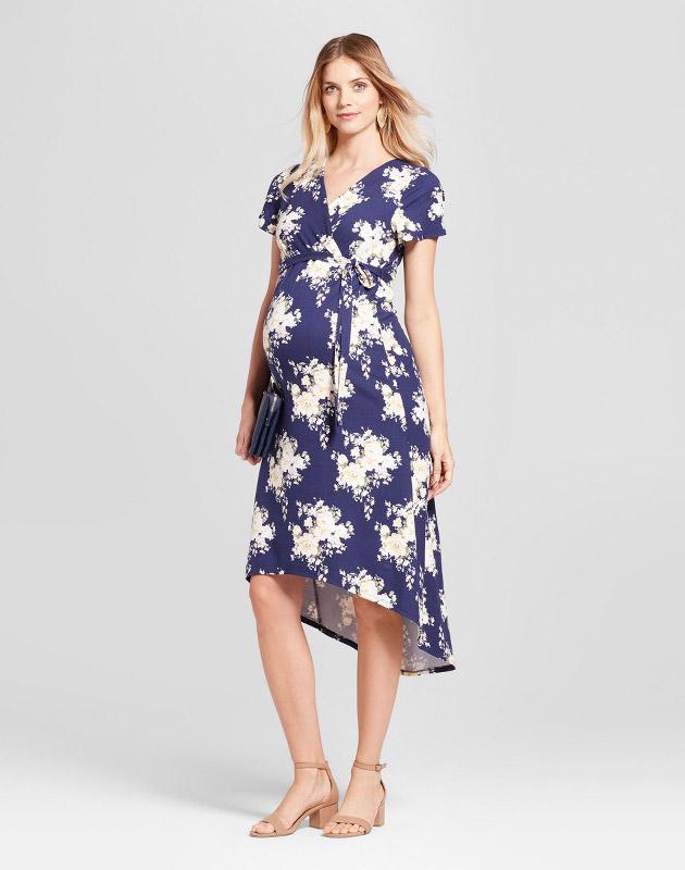 photo Maternity Short Sleeve Hi Lo Surplice Maxi Dress MaCherie, color Navy Multi - Image 1