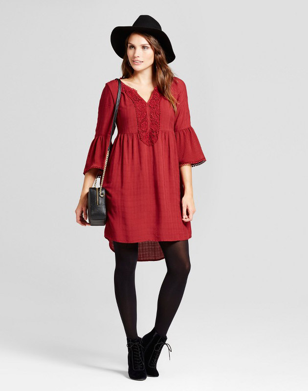 photo Crochet Bell Sleeve Dress by Knox Rose, color Berry (Pink) - Image 1