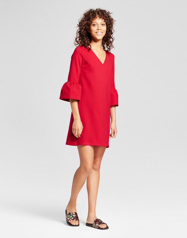 photo V-Neck Ponte Bell Sleeve Dress by Necessary Objects, color Red - Image 1