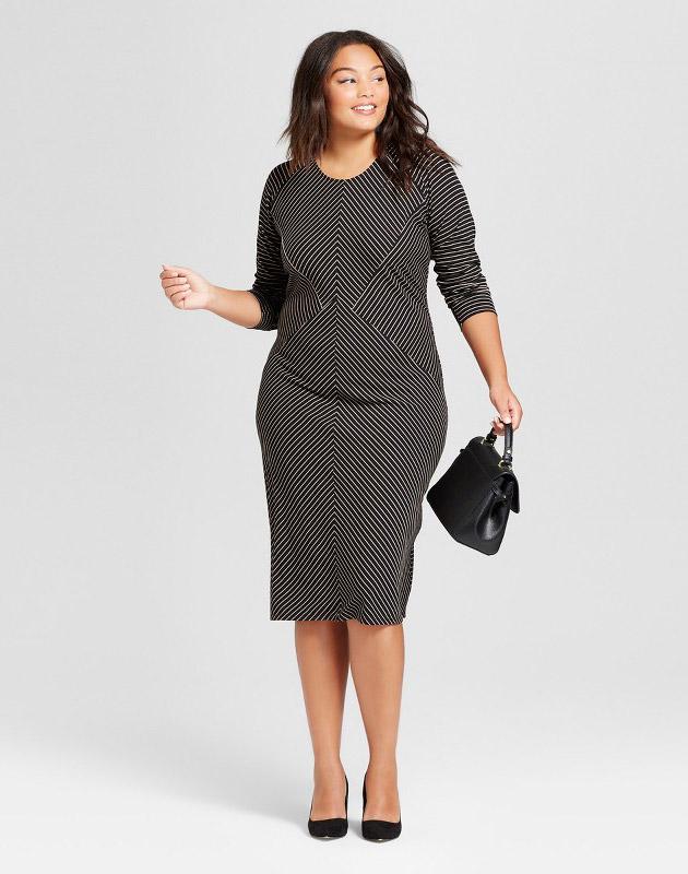 photo Plus Size Striped Rib Knit Midi Dress by Notations, color Black - Image 1