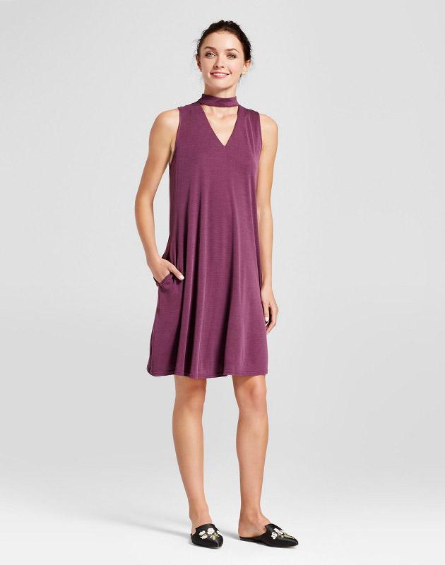 photo Sleeveless Choker Neck Shift Dress by Zac & Rachel, color Purple - Image 1