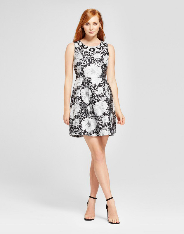 photo Floral Jacquard Fit & Flare Dress with Embellishment by Alison Andrews, color Multi - Image 1