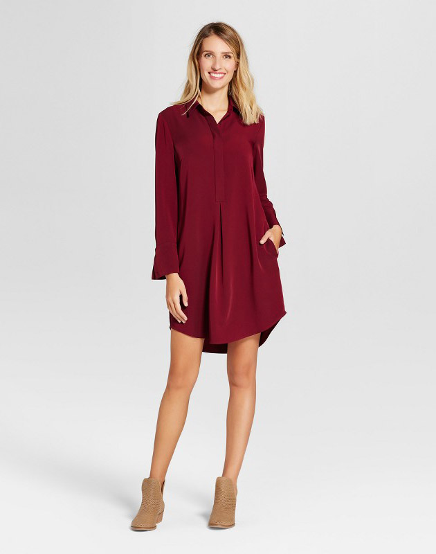 photo Woven Shirt Dress by Spenser Jeremy, color Wine Red - Image 1