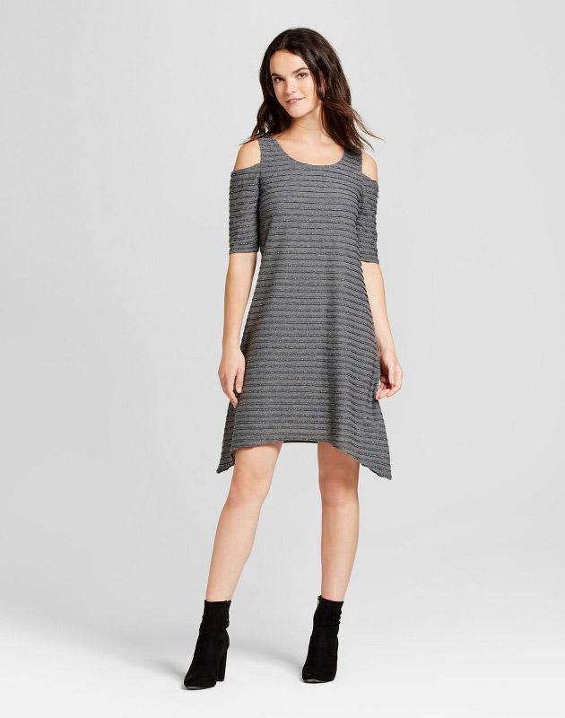 photo Cold Shoulder Textured Lurex Knit Sharkbite Dress by Spenser Jeremy, color Grey - Image 1