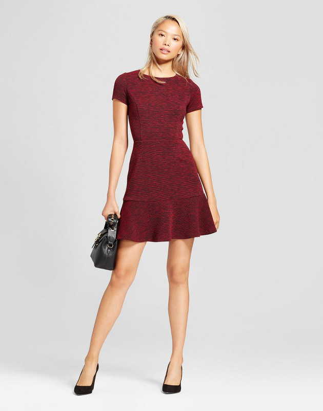 photo Short Sleeve Marled Dress by Necessary Objects, color Burgundy - Image 1