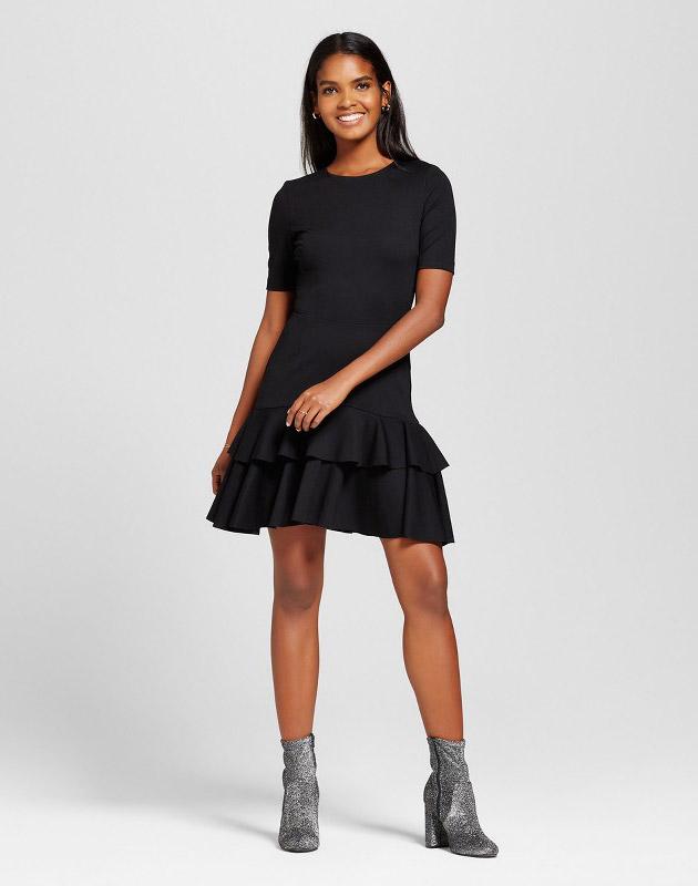 photo Ruffle Hem Elbow Sleeve Dress by Necessary Objects, color Black - Image 1