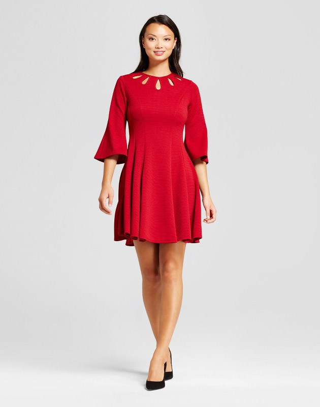 photo Bellsleeve Fit and Flare with Cutout Dress by Melonie T, color Red - Image 1
