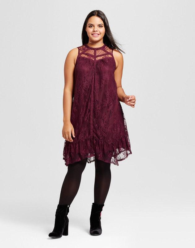 photo Plus Size Sleeveless Lace Dress by Xhilaration, color Blackberry - Image 1